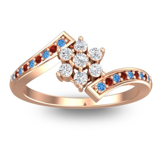 Diamond Simple Floral Pave Utpala Ring with Swiss Blue Topaz and Garnet in 18K Rose Gold
