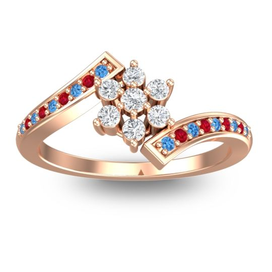 Simple Floral Pave Utpala Diamond Ring with Swiss Blue Topaz and Ruby in 18K Rose Gold