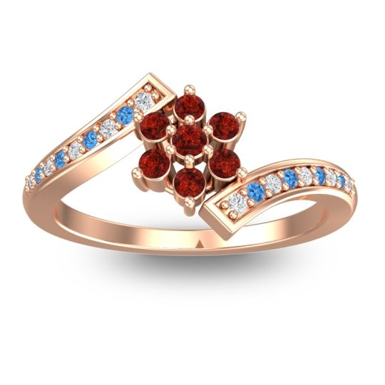 Garnet Simple Floral Pave Utpala Ring with Diamond and Swiss Blue Topaz in 18K Rose Gold