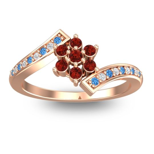 Simple Floral Pave Utpala Garnet Ring with Swiss Blue Topaz and Diamond in 18K Rose Gold