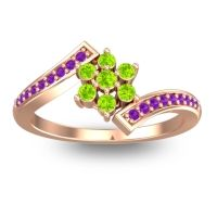 Simple Floral Pave Utpala Peridot Ring with Amethyst in 18K Rose Gold
