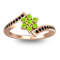 Simple Floral Pave Utpala Peridot Ring with Black Onyx in 18K Rose Gold
