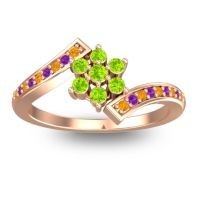 Simple Floral Pave Utpala Peridot Ring with Citrine and Amethyst in 18K Rose Gold