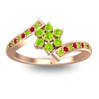 Simple Floral Pave Utpala Peridot Ring with Ruby in 18K Rose Gold