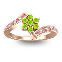 Simple Floral Pave Utpala Peridot Ring with Pink Tourmaline and Aquamarine in 18K Rose Gold