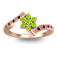 Simple Floral Pave Utpala Peridot Ring with Pink Tourmaline and Black Onyx in 18K Rose Gold