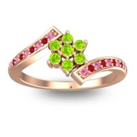 Simple Floral Pave Utpala Peridot Ring with Pink Tourmaline and Ruby in 14K Rose Gold