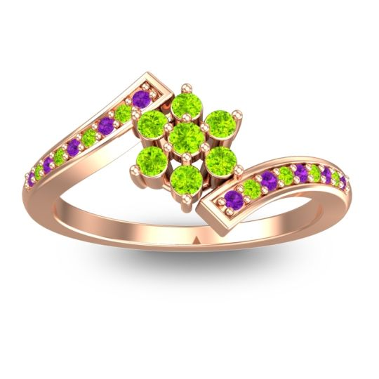 Peridot Simple Floral Pave Utpala Ring with Amethyst in 18K Rose Gold