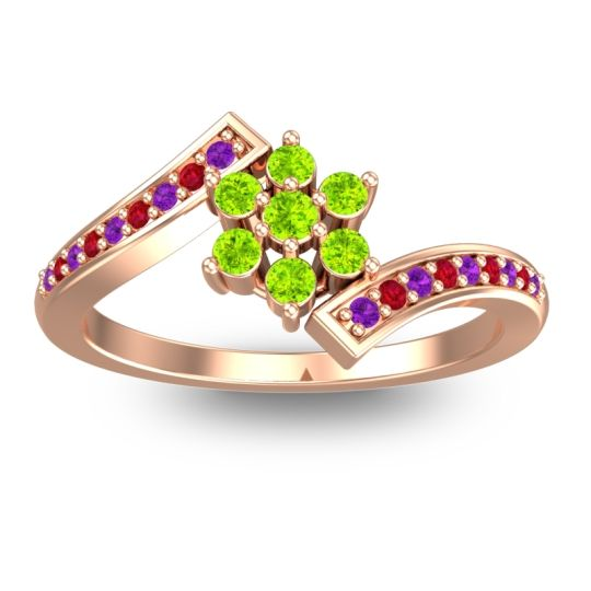 Peridot Simple Floral Pave Utpala Ring with Amethyst and Ruby in 18K Rose Gold