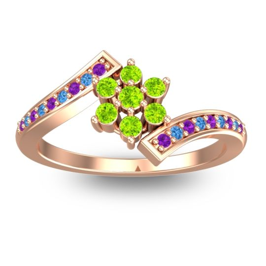 Peridot Simple Floral Pave Utpala Ring with Amethyst and Swiss Blue Topaz in 14K Rose Gold