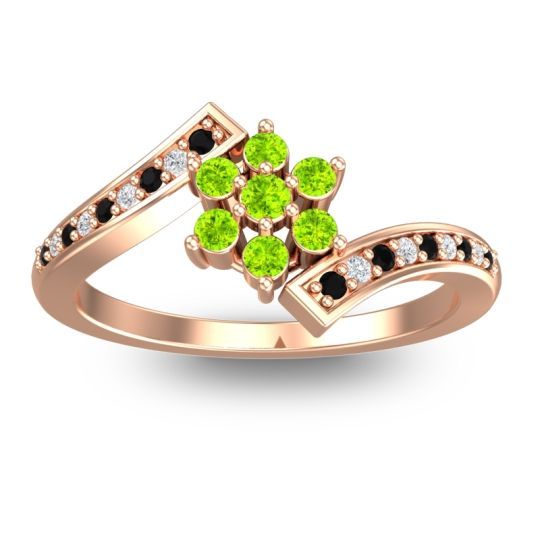 Simple Floral Pave Utpala Peridot Ring with Black Onyx and Diamond in 18K Rose Gold