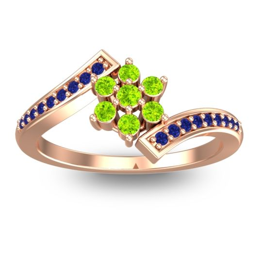 Simple Floral Pave Utpala Peridot Ring with Blue Sapphire in 14K Rose Gold