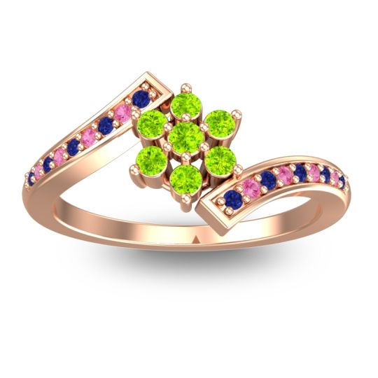 Simple Floral Pave Utpala Peridot Ring with Blue Sapphire and Pink Tourmaline in 14K Rose Gold