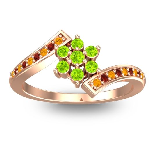 Simple Floral Pave Utpala Peridot Ring with Citrine and Garnet in 18K Rose Gold