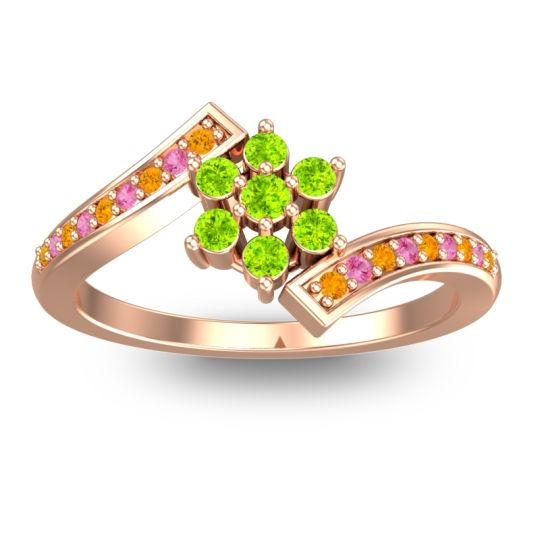 Simple Floral Pave Utpala Peridot Ring with Citrine and Pink Tourmaline in 18K Rose Gold