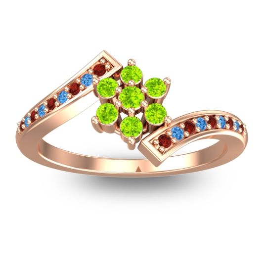 Simple Floral Pave Utpala Peridot Ring with Garnet and Swiss Blue Topaz in 18K Rose Gold