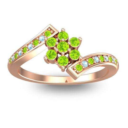 Peridot Simple Floral Pave Utpala Ring with Aquamarine in 14K Rose Gold