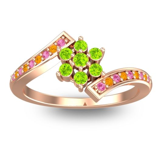 Peridot Simple Floral Pave Utpala Ring with Pink Tourmaline and Citrine in 14K Rose Gold