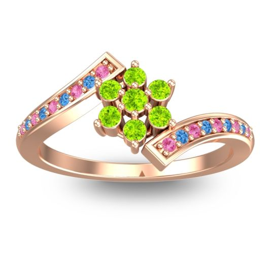 Simple Floral Pave Utpala Peridot Ring with Pink Tourmaline and Swiss Blue Topaz in 18K Rose Gold