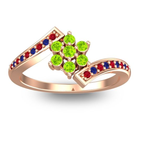 Peridot Simple Floral Pave Utpala Ring with Ruby and Blue Sapphire in 18K Rose Gold