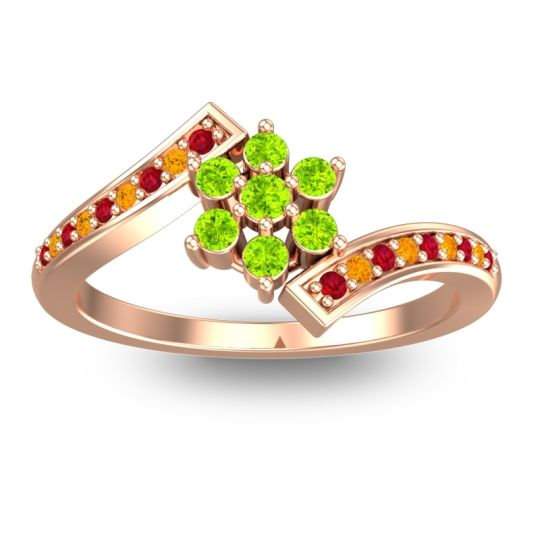 Peridot Simple Floral Pave Utpala Ring with Ruby and Citrine in 14K Rose Gold