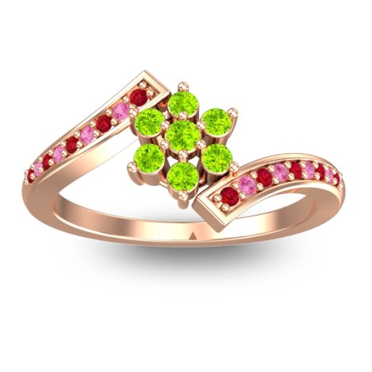 Peridot Simple Floral Pave Utpala Ring with Ruby and Pink Tourmaline in 18K Rose Gold