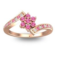 Simple Floral Pave Utpala Pink Tourmaline Ring with Diamond in 18K Rose Gold
