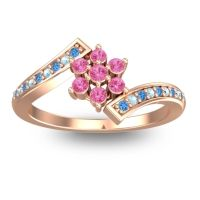 Simple Floral Pave Utpala Pink Tourmaline Ring with Swiss Blue Topaz and Aquamarine in 14K Rose Gold