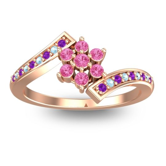 Simple Floral Pave Utpala Pink Tourmaline Ring with Amethyst and Aquamarine in 14K Rose Gold