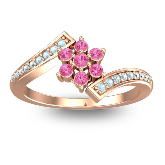 Pink Tourmaline Simple Floral Pave Utpala Ring with Aquamarine in 18K Rose Gold