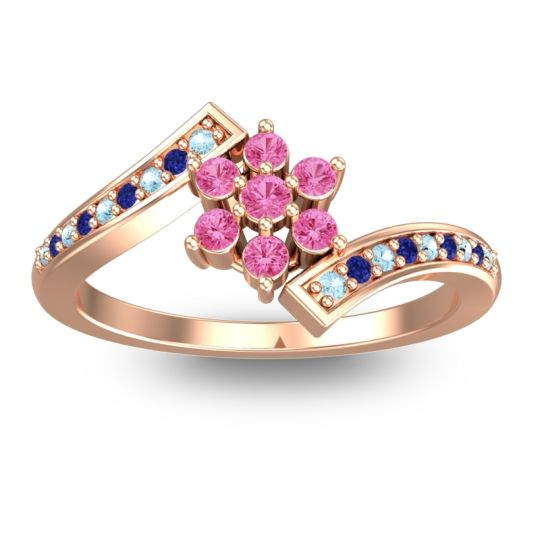 Pink Tourmaline Simple Floral Pave Utpala Ring with Aquamarine and Blue Sapphire in 14K Rose Gold