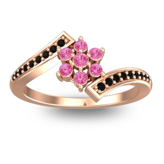 Pink Tourmaline Simple Floral Pave Utpala Ring with Black Onyx in 18K Rose Gold