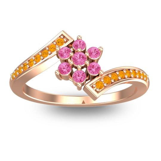 Pink Tourmaline Simple Floral Pave Utpala Ring with Citrine in 18K Rose Gold