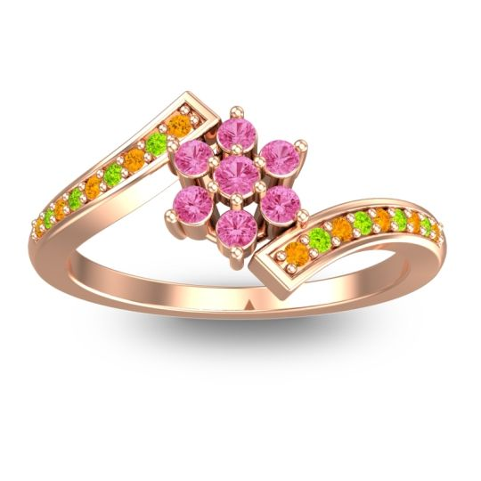 Simple Floral Pave Utpala Pink Tourmaline Ring with Citrine and Peridot in 18K Rose Gold