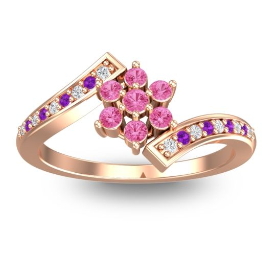 Simple Floral Pave Utpala Pink Tourmaline Ring with Diamond and Amethyst in 18K Rose Gold