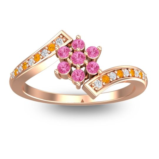 Simple Floral Pave Utpala Pink Tourmaline Ring with Diamond and Citrine in 18K Rose Gold
