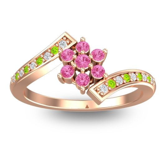 Simple Floral Pave Utpala Pink Tourmaline Ring with Diamond and Peridot in 14K Rose Gold