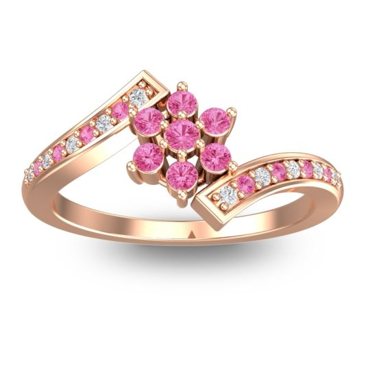 Pink Tourmaline Simple Floral Pave Utpala Ring with Diamond in 18K Rose Gold
