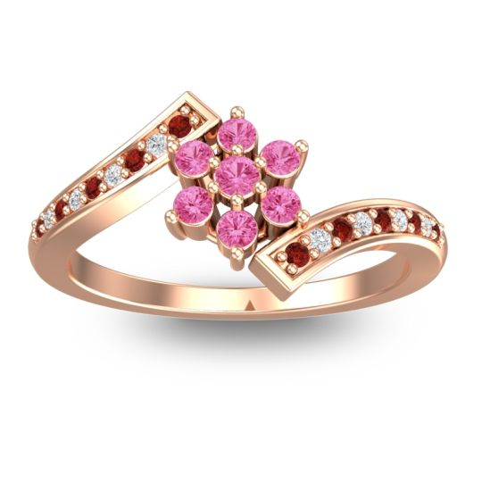 Simple Floral Pave Utpala Pink Tourmaline Ring with Garnet and Diamond in 18K Rose Gold
