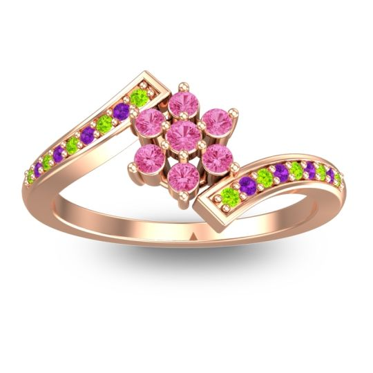 Pink Tourmaline Simple Floral Pave Utpala Ring with Peridot and Amethyst in 18K Rose Gold