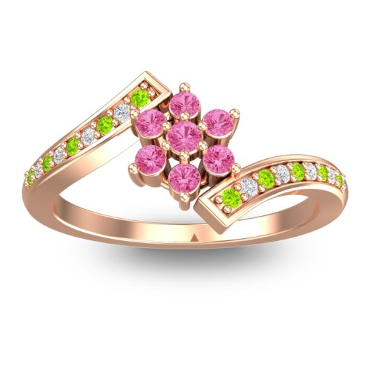 Simple Floral Pave Utpala Pink Tourmaline Ring with Peridot and Diamond in 18K Rose Gold