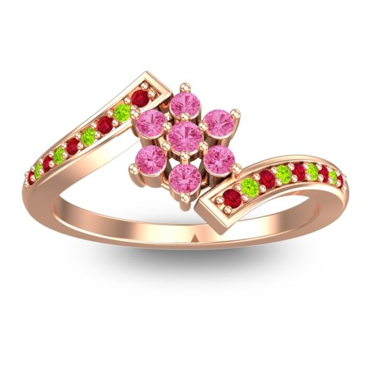 Simple Floral Pave Utpala Pink Tourmaline Ring with Ruby and Peridot in 18K Rose Gold