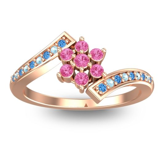 Pink Tourmaline Simple Floral Pave Utpala Ring with Swiss Blue Topaz and Aquamarine in 14K Rose Gold