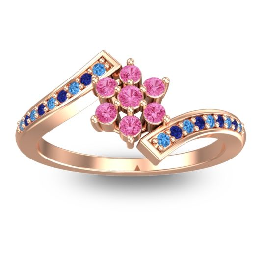 Simple Floral Pave Utpala Pink Tourmaline Ring with Swiss Blue Topaz and Blue Sapphire in 18K Rose Gold
