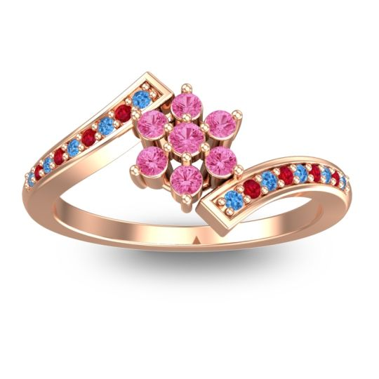 Simple Floral Pave Utpala Pink Tourmaline Ring with Swiss Blue Topaz and Ruby in 14K Rose Gold