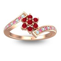 Simple Floral Pave Utpala Ruby Ring with Aquamarine and Pink Tourmaline in 18K Rose Gold