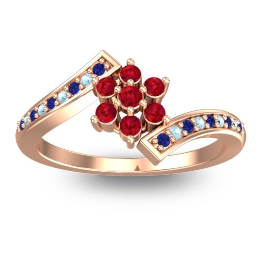 Simple Floral Pave Utpala Ruby Ring with Blue Sapphire and Aquamarine in 14K Rose Gold