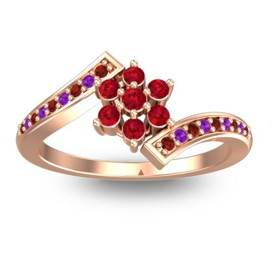 Simple Floral Pave Utpala Ruby Ring with Garnet and Amethyst in 14K Rose Gold