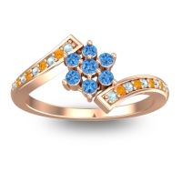 Simple Floral Pave Utpala Swiss Blue Topaz Ring with Aquamarine and Citrine in 14K Rose Gold