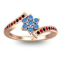 Simple Floral Pave Utpala Swiss Blue Topaz Ring with Black Onyx and Ruby in 18K Rose Gold